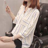 大碼襯衫 女士夏季韓版襯衫女新款半袖短款上衣條紋寬鬆襯衣套頭衫外套【韓國時尚週】