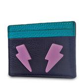 美國正品 COACH  荔枝紋皮革閃電票卡名片夾-黑/綠