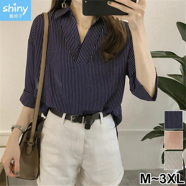 【V2529】shiny藍格子-慵懶休閒.條紋V領寬鬆顯瘦七分袖襯衫上衣