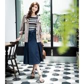 秋裝上市[H2O]附本布腰帶拼接壓褶雪紡中長版牛仔裙 - 藍色 #0632001