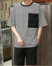 找到自己 MD 時尚 男 韓國 寬鬆五分袖 大口袋 條紋 大碼 休閒 運動短T 特色短T 短袖T恤