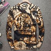 圓領針織衫毛衣-圖案羊毛百搭修身加厚格子新款男上衣72k26【巴黎精品】
