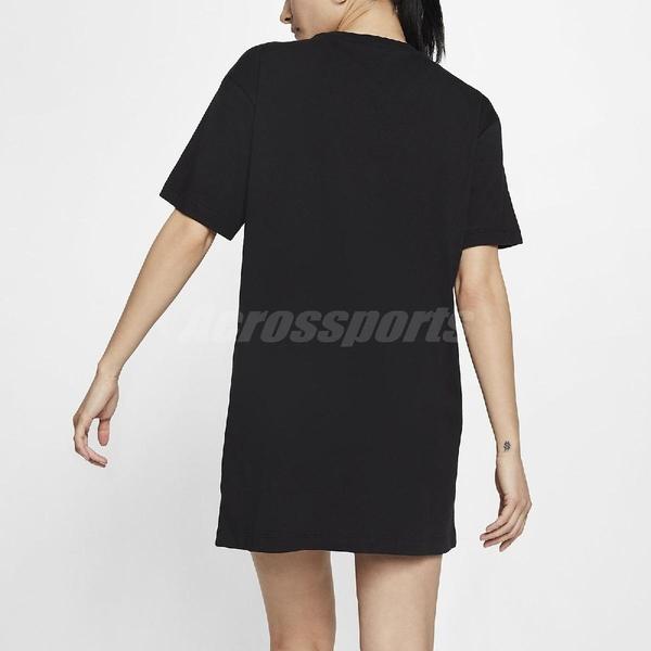 Nike 洋裝 NSW Essential Dress 黑 白 女款 長版T恤 運動休閒 【PUMP306】 CJ2243-010
