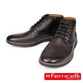 【ferricelli】Koleos男仕短統綁帶休閒皮鞋/短靴  深咖啡(F51231-COF)