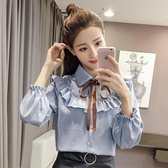 2020春季韓版POLO領蝴蝶結系帶喇叭袖純色襯衫荷葉邊休閒上衣女潮