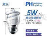 PHILIPS飛利浦 5W 110V 827 2700K 黃光 麗晶 省電螺旋燈管_ PH160001