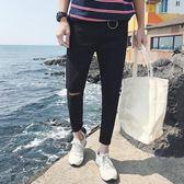 秋季黑色破洞牛仔褲男日韓版潮流刮爛修身小腳膝蓋破洞