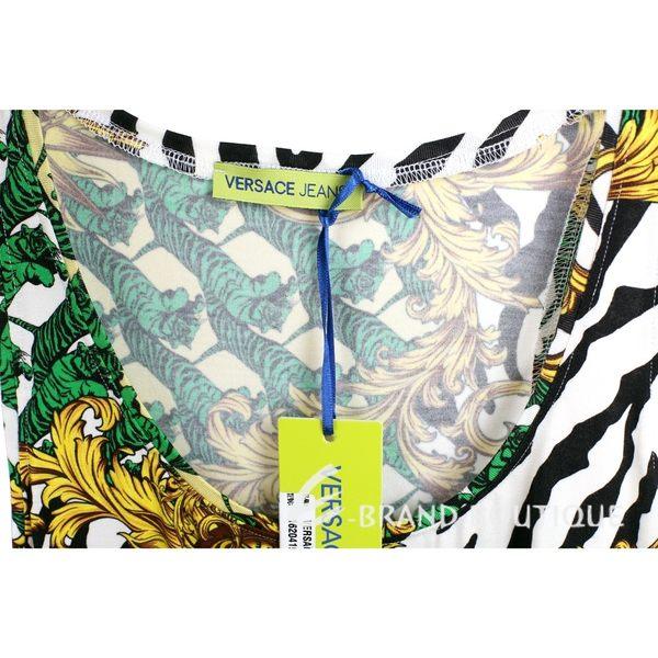 VERSACE 黃x綠色虎群圖騰印花無袖上衣 1620419-A3