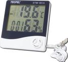 泰菱電子◆室內外二用大字幕溫濕度計/時鐘/鬧鐘DTM-301A TECPEL