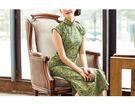 唐寶-唐寶旗袍 最新品 百搭 微彈印花棉 平肩小連袖 復古 中長款 旗袍
