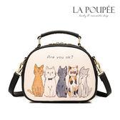 側背包 可愛貓咪插畫小方包 2色-La Poupee樂芙比質感包飾 (預購+好禮)