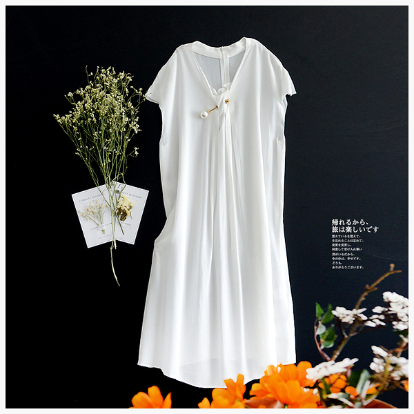 [超豐國際]Z 低調氣質款~~仿珍珠扣 連衣裙  F705D