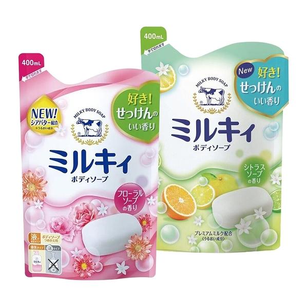 COW STYLE 牛乳石鹼 美嫩皙 牛乳精華沐浴乳-補充包 400ml 玫瑰花香/柚子果香【BG Shop】2款可選