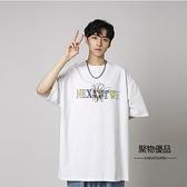夏季學生字母印花寬鬆圓領短袖T恤情侶男上衣【聚物優品】