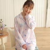 睡衣-長袖舒適透氣素雅花朵棉質女居家服套裝2色73ol40【時尚巴黎】