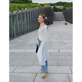 JoYcE ShOp.Travel.透膚純色襯衫式罩衫-2系 米白.淺紫【472-04080565】