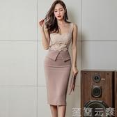 洋裝夏裝新款女名媛時尚性感V領吊帶蕾絲假兩件包臀開叉裙 至簡元素