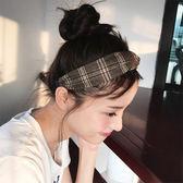 Qmigirl  學院風格子條紋發帶 簡約交叉鬆緊頭帶 髮箍【QG005】