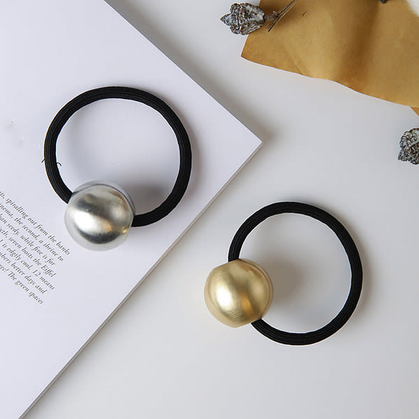Qmigirl 韓版髮飾頭飾 韓式拉絲磨砂金屬球球個性時尚髮繩 圓球髮圈【QG2081】
