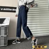 牛仔寬管褲 適合胯大腿粗牛仔褲女2021新款大碼胖mm寬鬆直筒顯瘦闊腿老爹褲子【99免運】