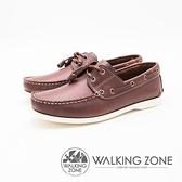 【南紡購物中心】WALKING ZONE 英倫 真皮手工白線車縫帆船雷根男鞋-咖啡(另有深藍)
