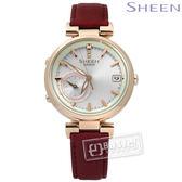 SHEEN CASIO / SHB-100CGL-7A / 卡西歐唯美柔和色調藍牙太陽能真皮手錶 銀x香檳金框x紅 35mm