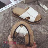 涼拖鞋厚底涼拖鞋女學生時尚休閒外穿中跟鬆糕防滑沙灘鞋