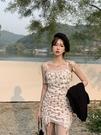 抹胸洋裝 港風法式蕾絲碎花吊帶連身裙仙女夏設計性感小眾外穿抹胸包臀辣妹 寶貝 618狂歡