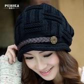 帽子女冬天正韓潮加絨厚保暖套頭中老年帽月子帽針織護耳毛線帽