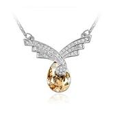 水晶項鍊+925純銀吊墜-璀璨鑲鑽生日聖誕節交換禮物女飾品5色73bb376[時尚巴黎]