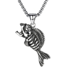 《 QBOX 》FASHION 飾品【C20N1838】精緻個性歐美龐克風骷顱食人魚鑄造鈦鋼墬子項鍊/掛飾