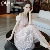 年新款仙女超仙森系平時可穿禮服夏天一字肩性感吊帶連身裙子 艾瑞斯居家生活