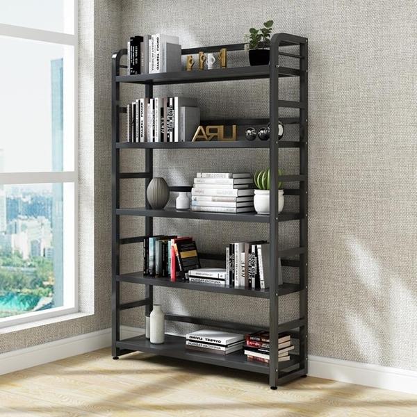 書架 書架置物架落地多層調節鐵藝儲物架兒童環保架子組合鋼木展示貨架免運快出