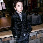 禮服 男童復古修身雙排扣長袖兒童小西服禮服igo 晶彩生活