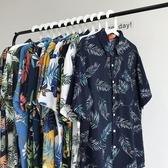 花襯衫 INS寬鬆短袖夏威夷沙灘原宿風情侶復古花襯衫男港風chic襯衣古著 芊墨左岸