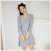 。Styleon。正韓。古典印花V領長袖洋裝。韓國連線。韓國空運。0311。