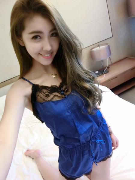 日系甜美純色小清新百褶睡衣夏 性感蕾絲拼接網紗吊帶雙層睡裙女  -11190054