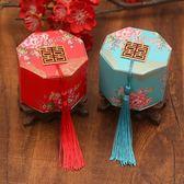 流蘇結婚喜糖盒子 牡丹花中式喜糖盒 八角紙盒袋 婚慶糖盒    琉璃美衣