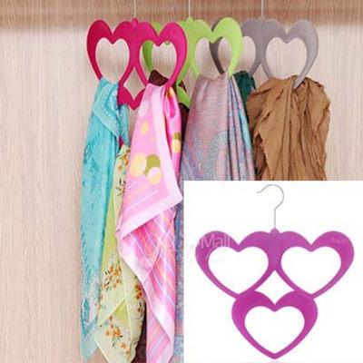 Qmishop 高品質植絨愛心型絲巾架 領帶架 皮帶架 【QJ626】