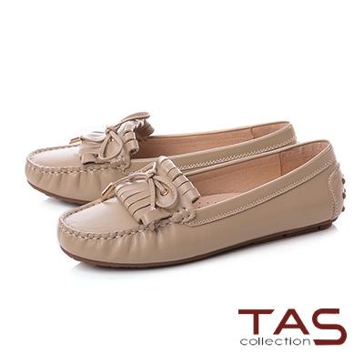 TAS立體綁繩蝴蝶結流蘇莫卡辛便鞋-質感卡其