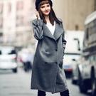 風衣外套-純色寬鬆雙排釦大衣女夾克73hu10【時尚巴黎】