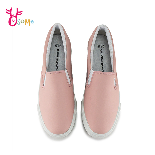 GIOVANNI VALENTINO 成人女款 套入式懶人鞋 休閒鞋 舒適皮面柔軟內裡 H8821#粉紅◆OSOME奧森鞋業