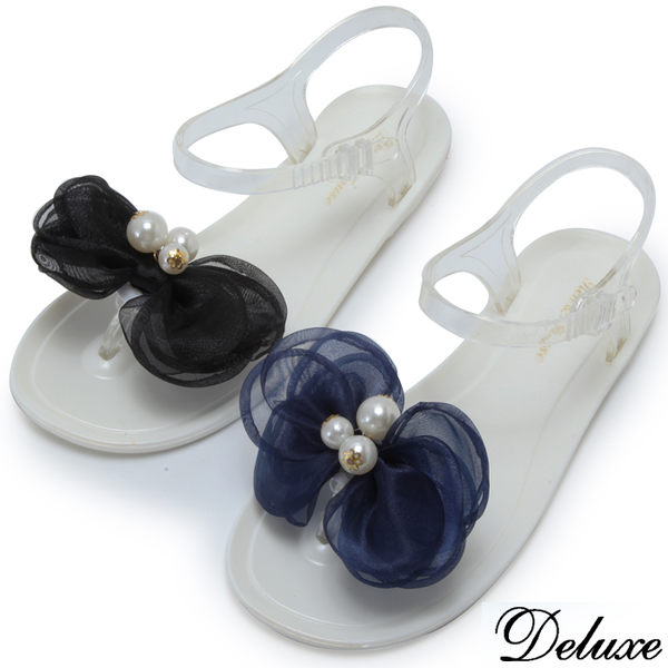 【Deluxe】青春氣質網紗珍珠花夾腳涼鞋(黑★藍)