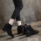 單款軟皮馬丁靴女英倫風方頭靴子女2021秋冬新款粗跟短靴中跟百搭 夏季新品