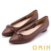 ORIN 典雅輕熟OL 牛皮蜥蜴壓紋百搭尖頭低跟鞋-棕色