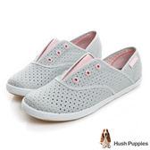Hush Puppies 涼感沖孔咖啡紗皮質懶人帆布鞋-淺灰/粉紅