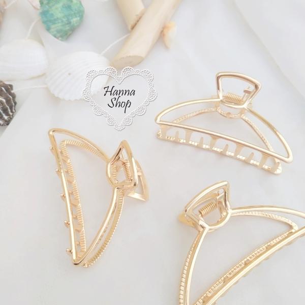 《花花創意会社》外流。珍珠貝殼幾何簡約金屬大抓夾鯊魚夾百搭髮飾【H6842】