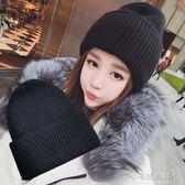 黑色帽子女冬天學生原宿可愛針織帽潮百搭加厚護耳月子毛線帽『小宅妮時尚』