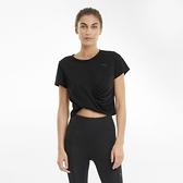 PUMA 女款黑色瑜珈系列Studio扭結短版短袖T恤-NO.52022801