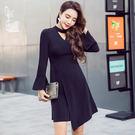 VK精品服飾 韓國名媛氣質喇叭袖V領收腰赫本風小黑裙長袖洋裝